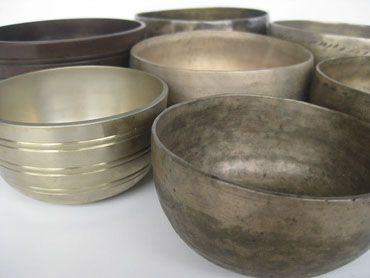 Tibetan singing bowls from Nepal, handmade metal bells