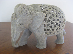 Carved stone elephant statue