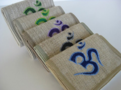Hemp wallets with Buddhist Om embroidery