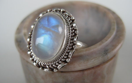 Sterling silver gemstone rings in moonstone, and much more